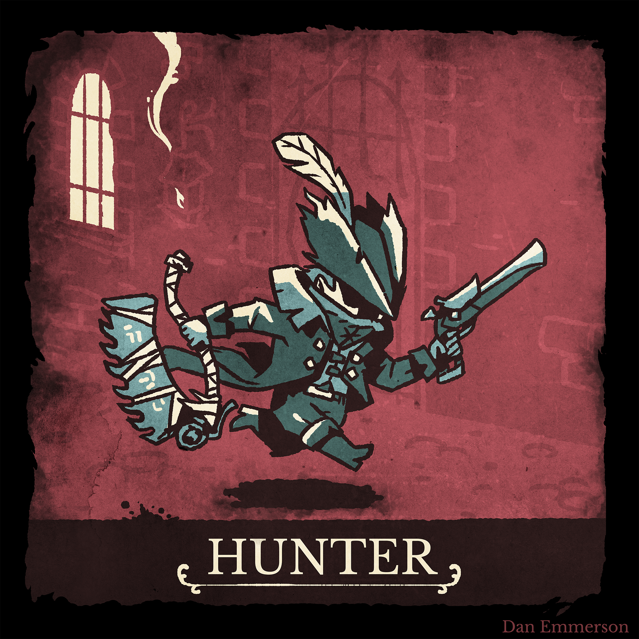 A hunter from Bloodborne inspired by Darkest Dungeon